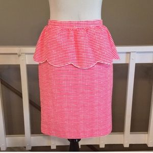 Lilly Pulitzer thyme pink/gingham peplum skirt
